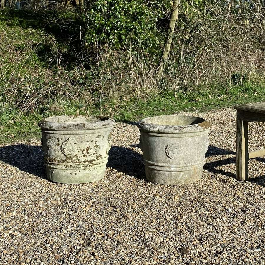 Pair of Patinated Rose Planters