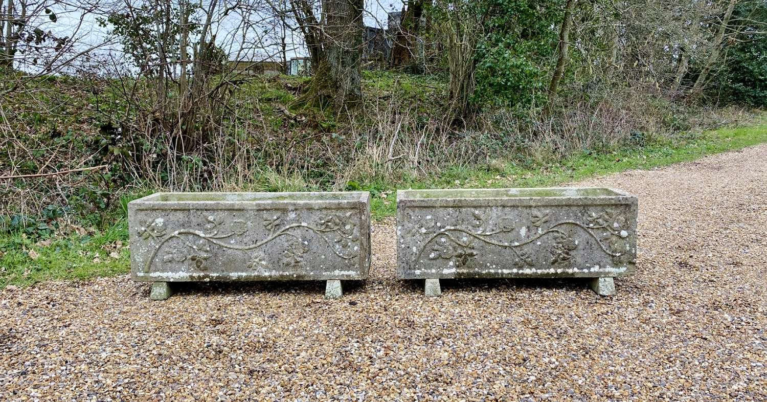 Pair of Large Patinated Troughs