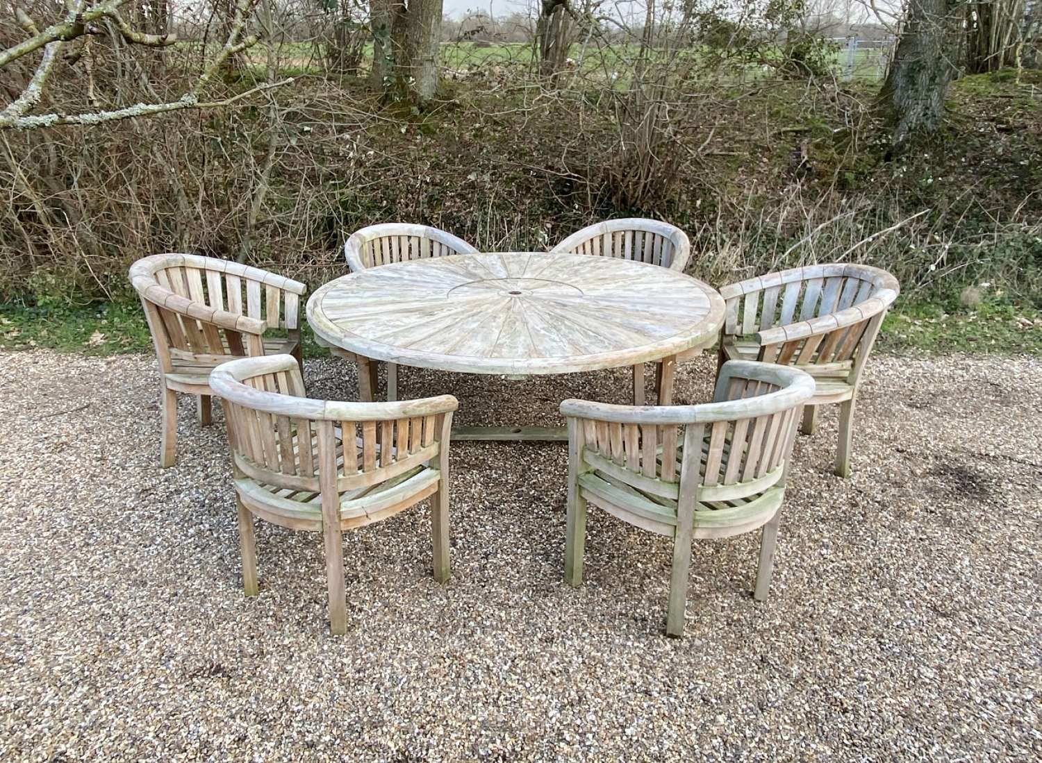 Large Round Table with Curved Seats