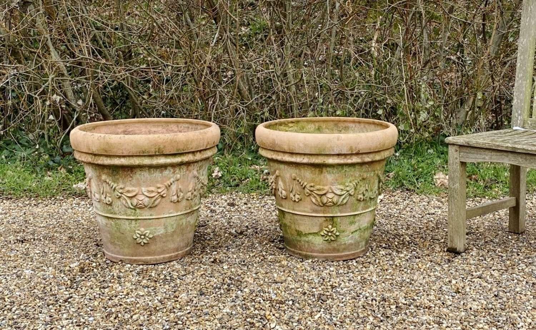 Pair of Decorative Terracotta Planters