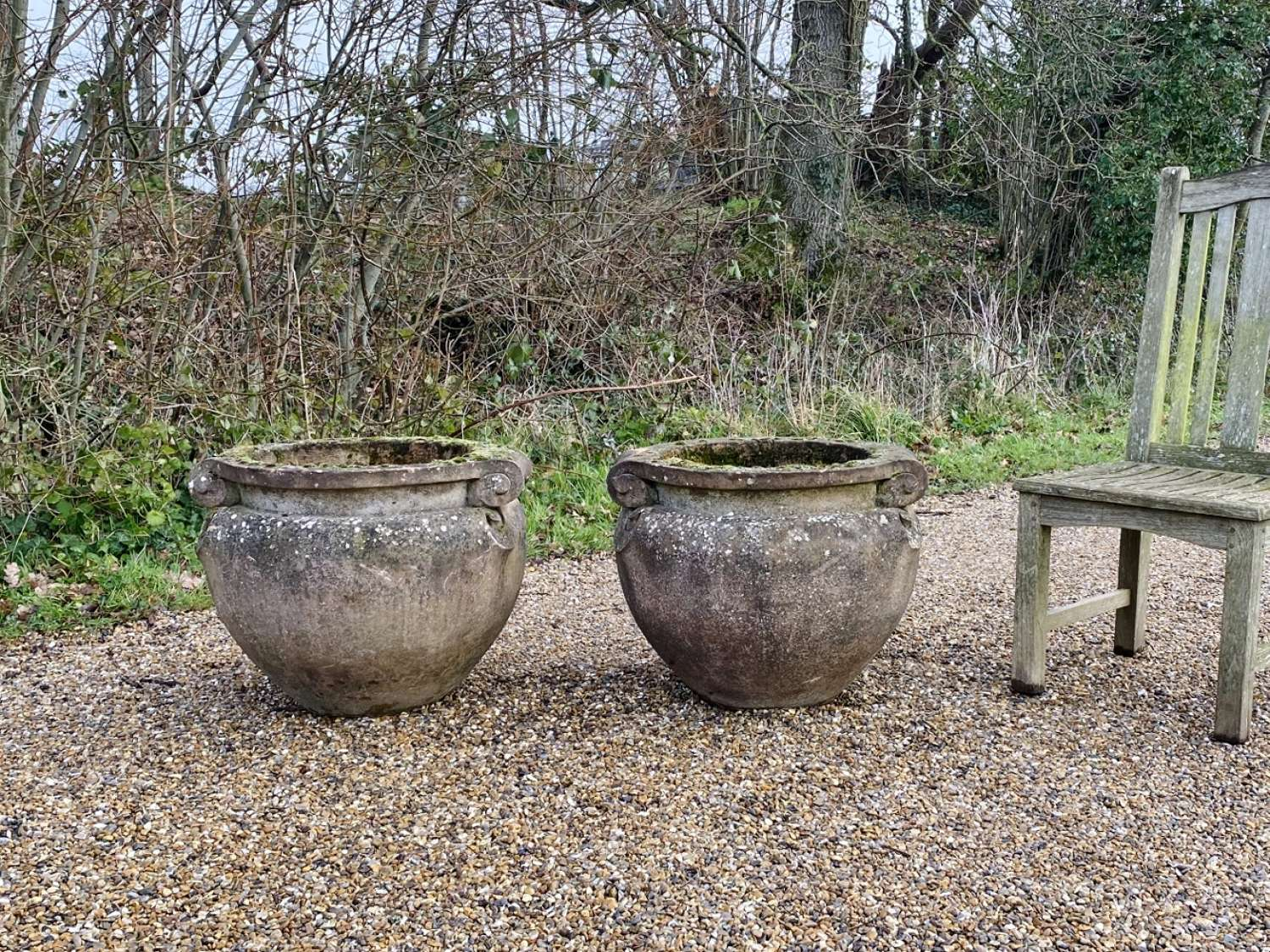 Pair of Large Scroll Planters