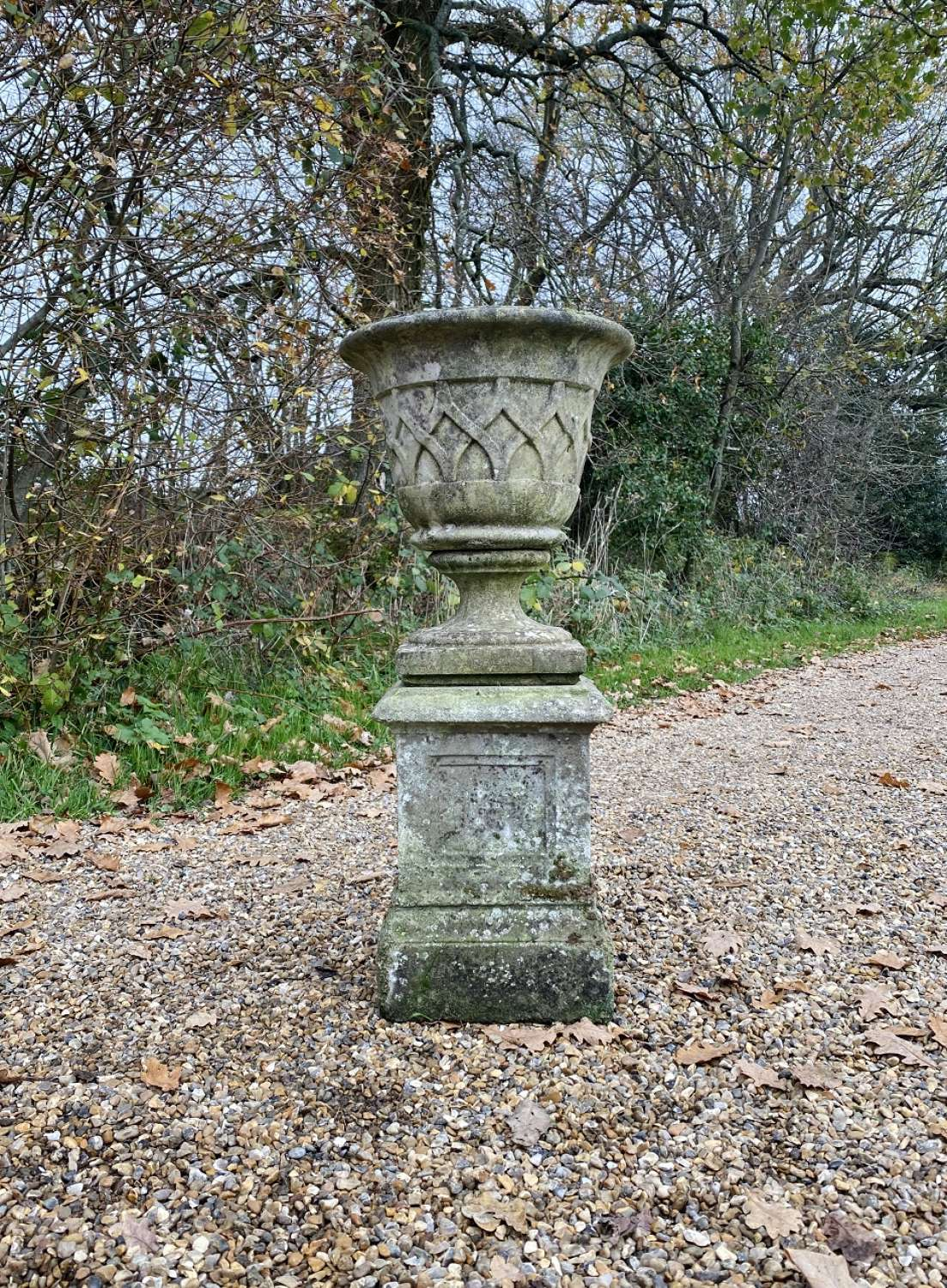 Small Patinated Lattice Urn and Pedestal
