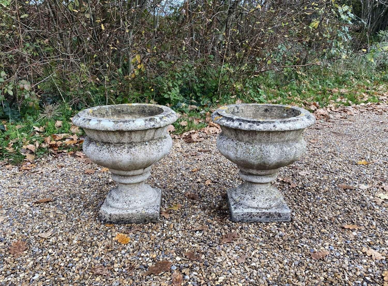 Pair of Patinated Vintage Urns