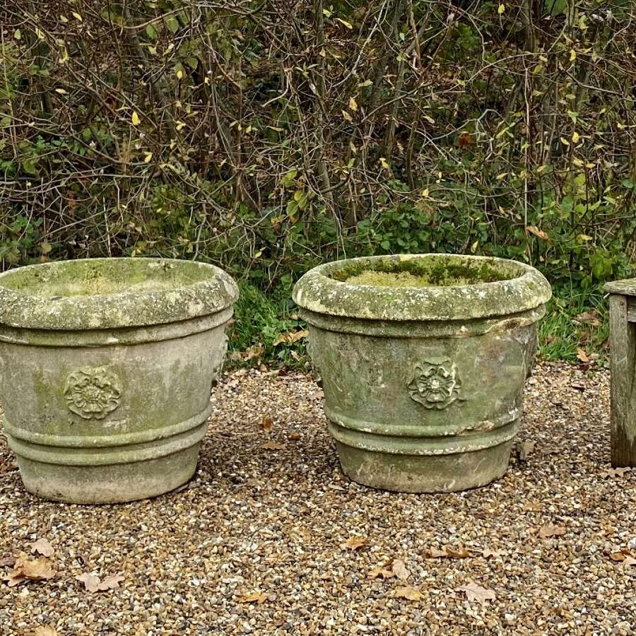 Pair of Large Patinated Rose Planters