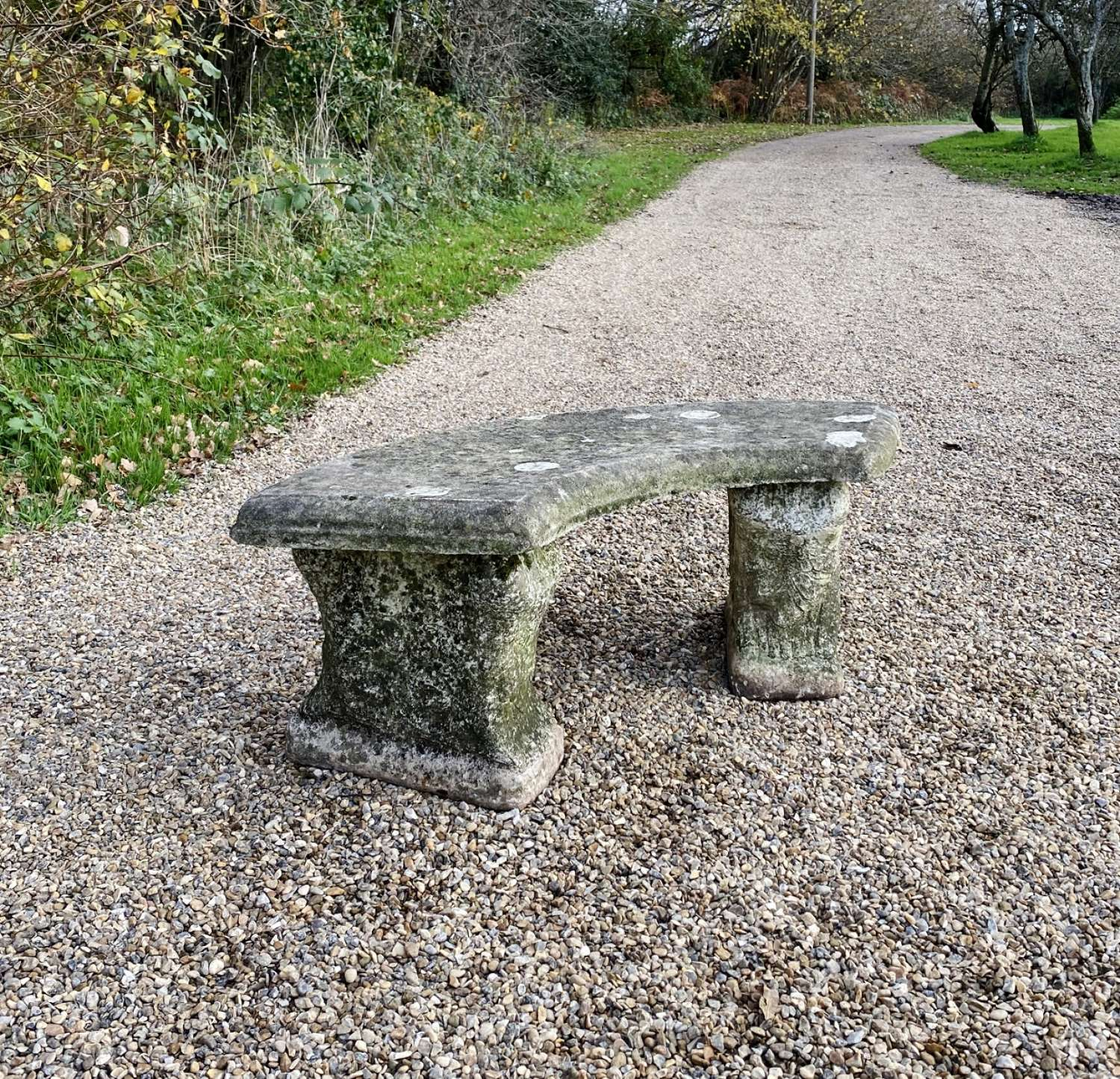 Small Stone Bench with Lichen