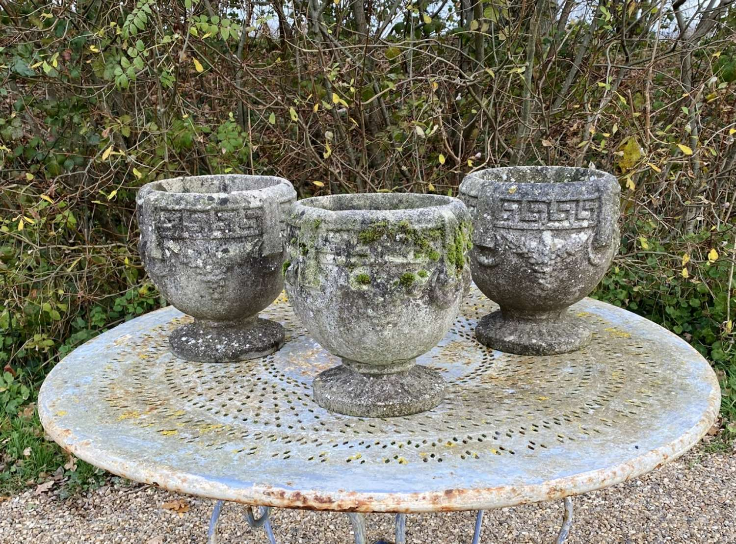 Set of 3 Small Patinated Urns