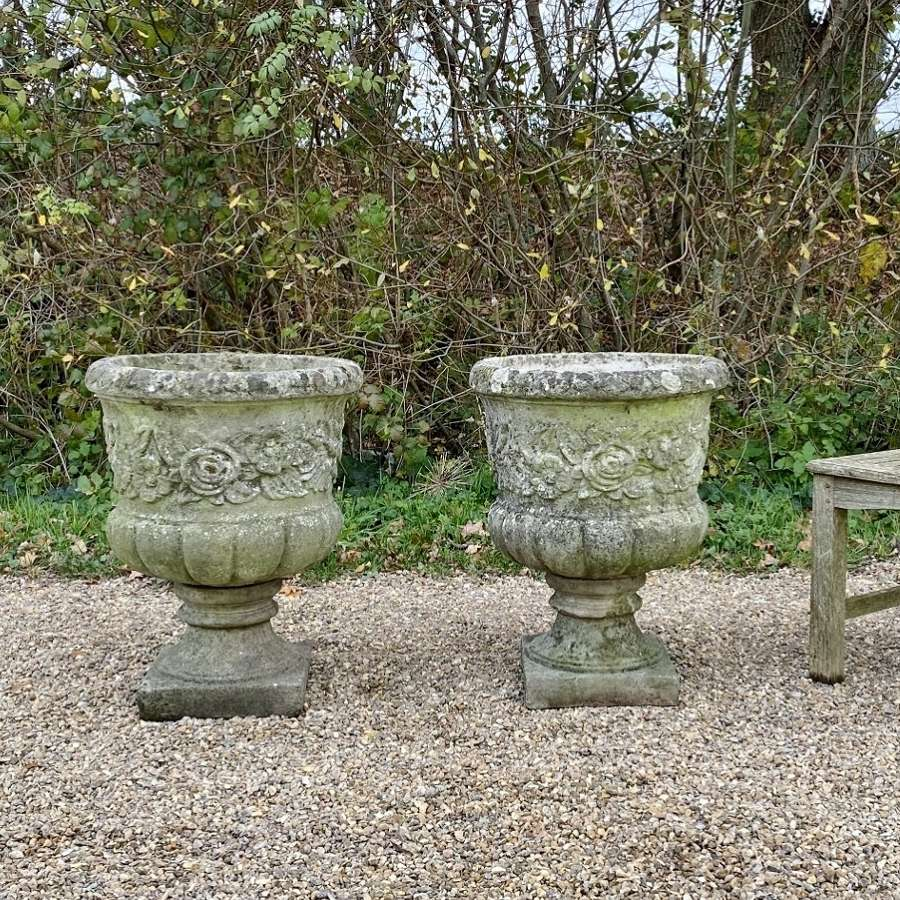 Pair of Patinated Flower Urns