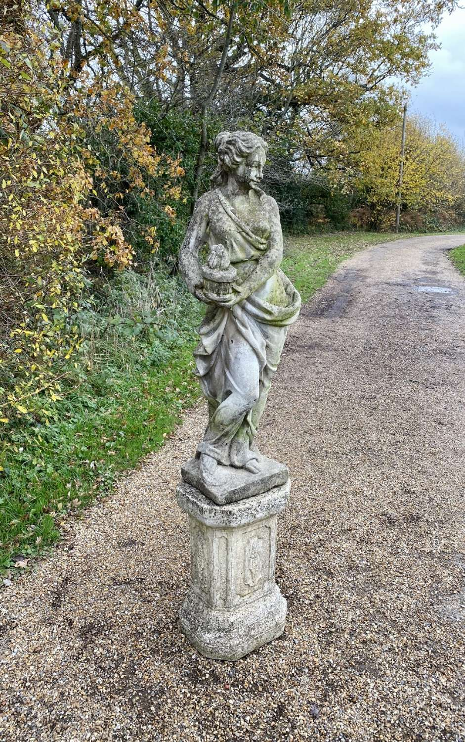 Patinated Maiden with Pedestal