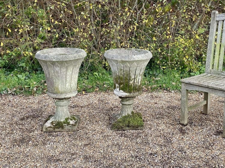 Pair of Elegant Mossy Urns