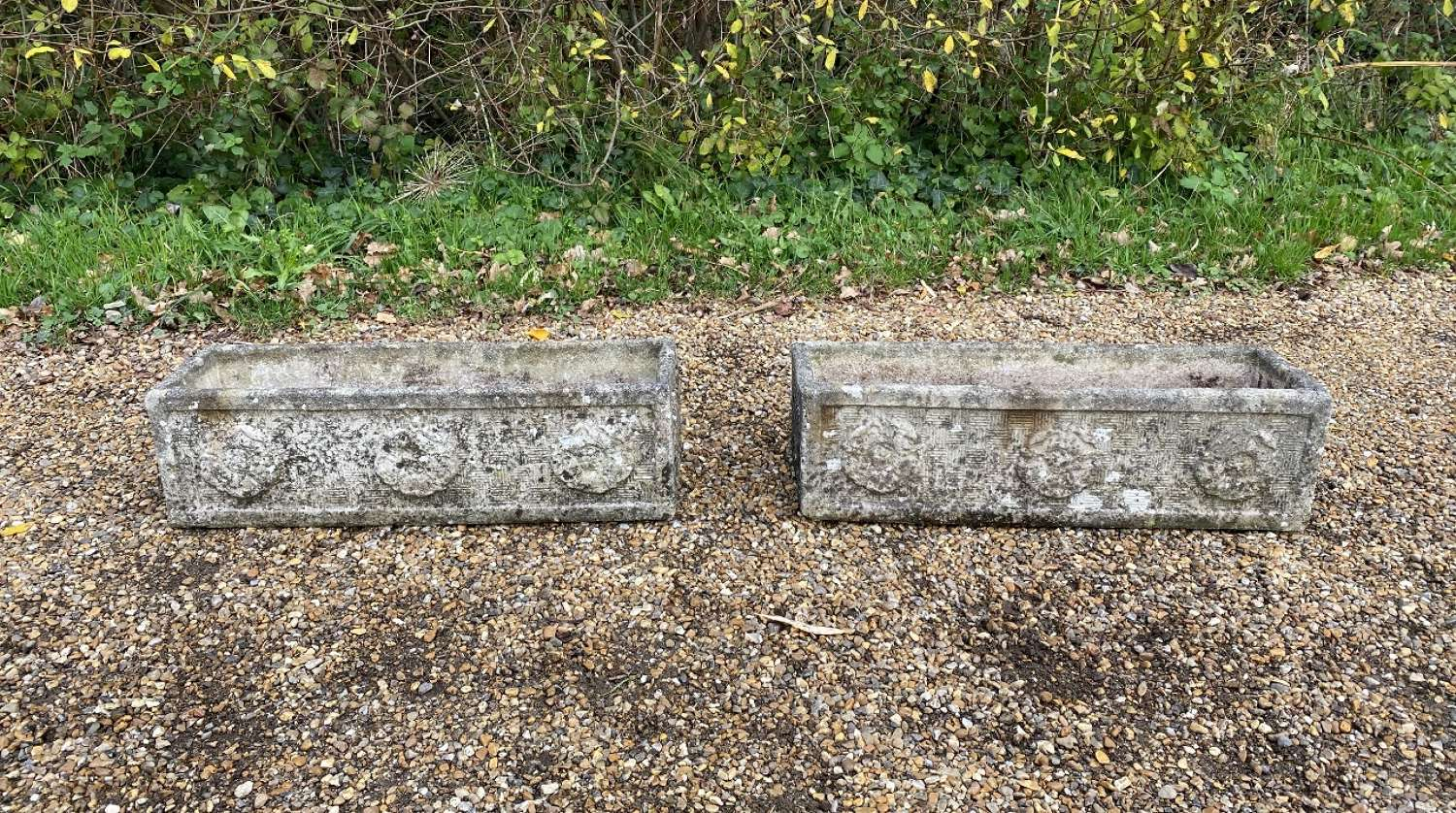 Pair of Small Rose Troughs