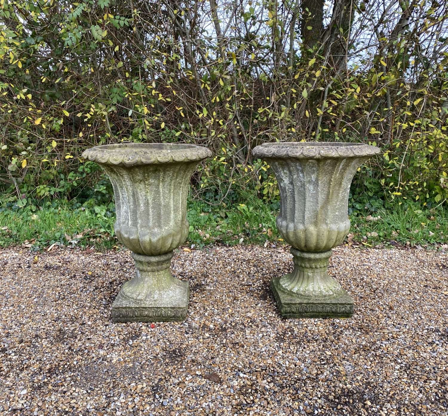Pair of Fluted Campania Urns