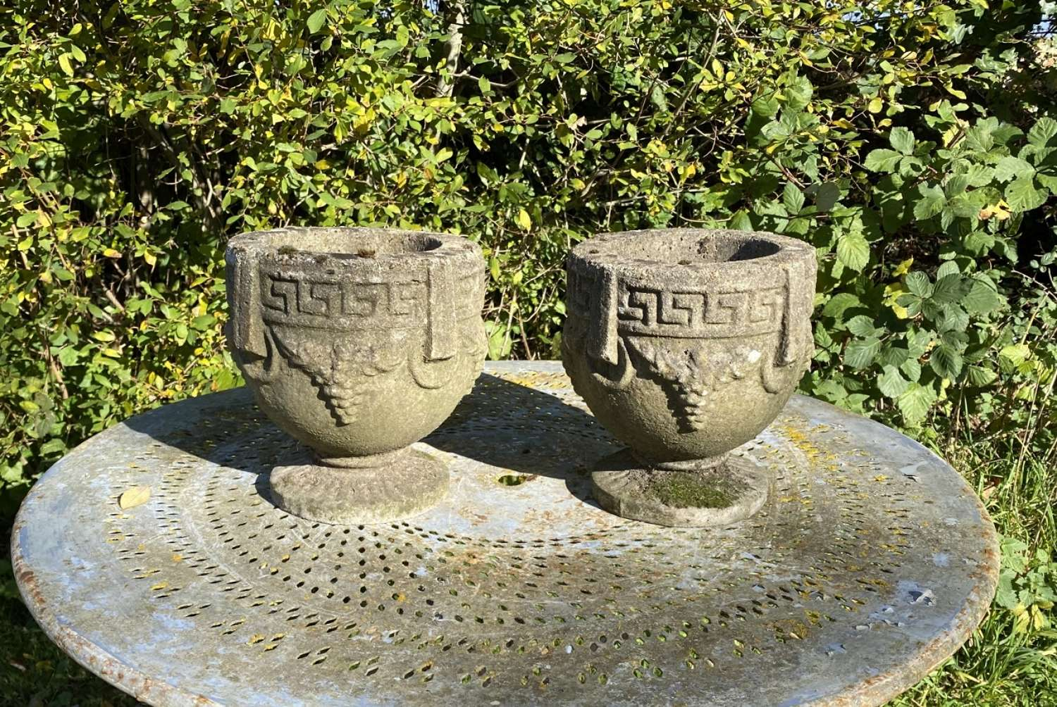 Pair of Small Grape Urns