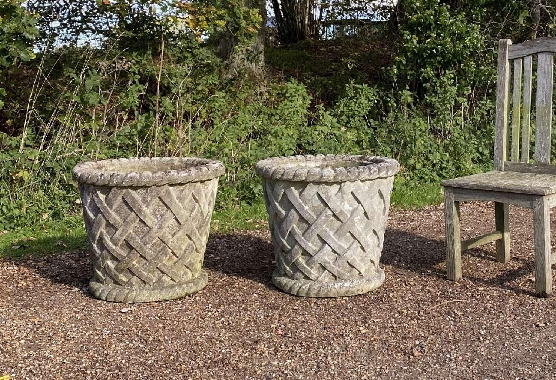 Pair of Large Basket Planters