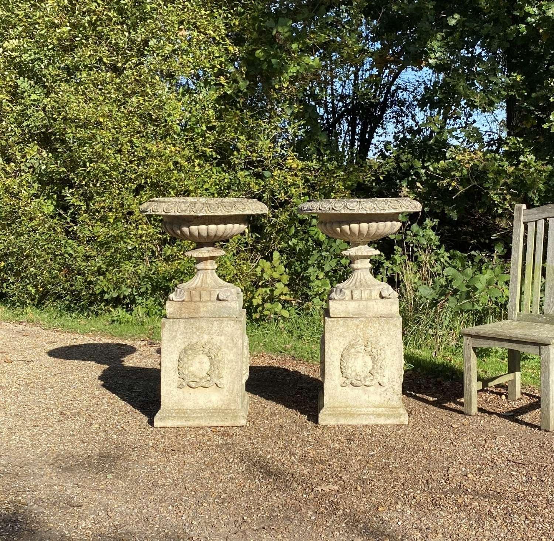 Pair of Garden Urns with Pedestals
