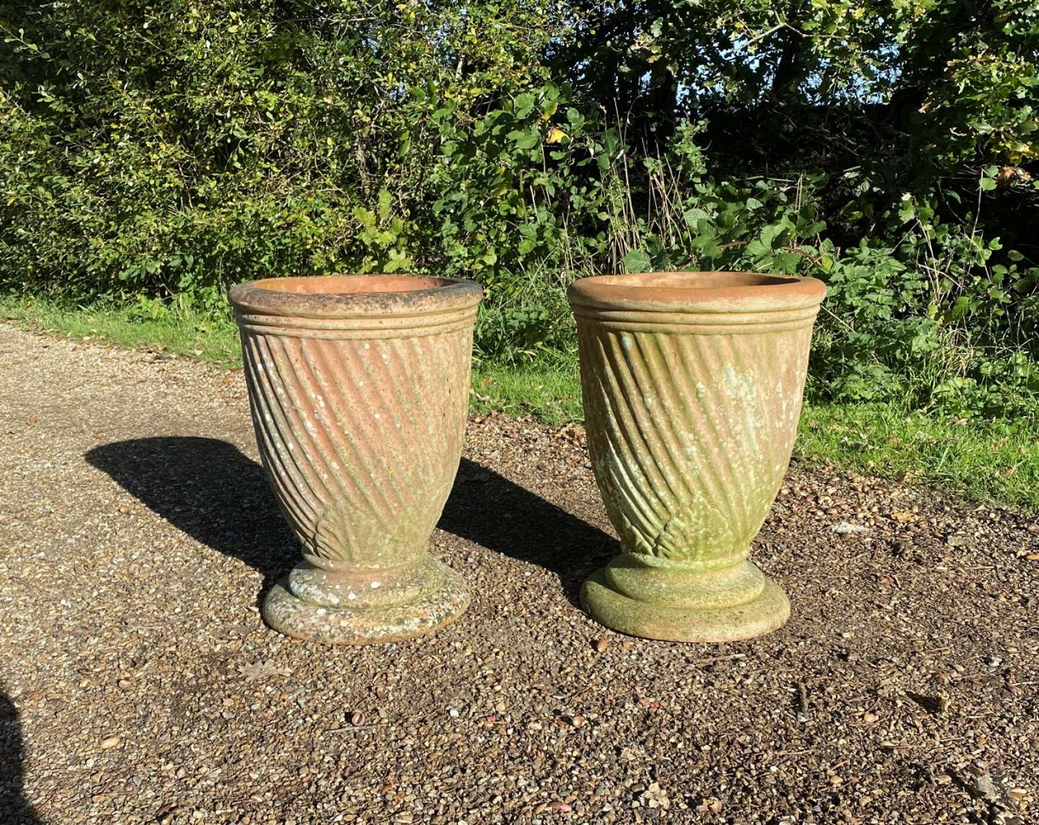 Pair of Patinated Terracotta Vases