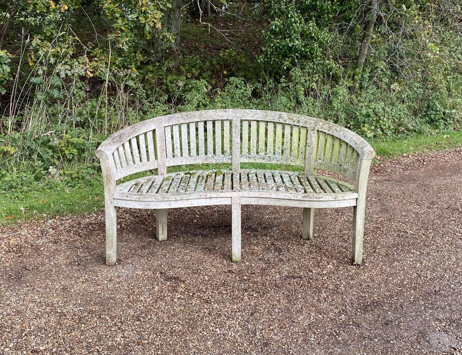 Curved Seat with Lichen