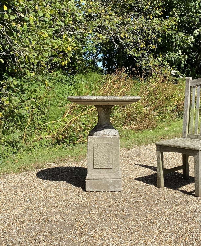 Large Dish Bird Bath on Pedestal