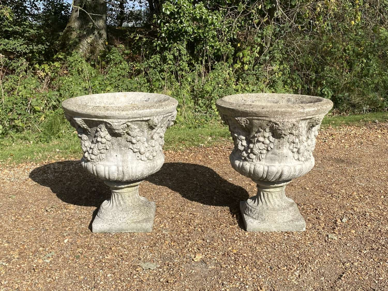Pair of Large Garland Urns