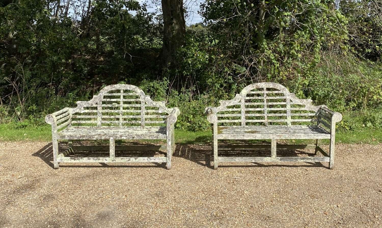 Pair of Lichen Lutyen Benches