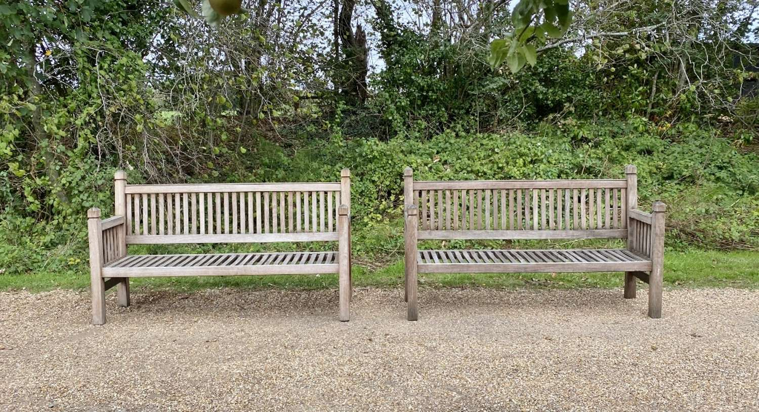 Slatted Benches with Finials