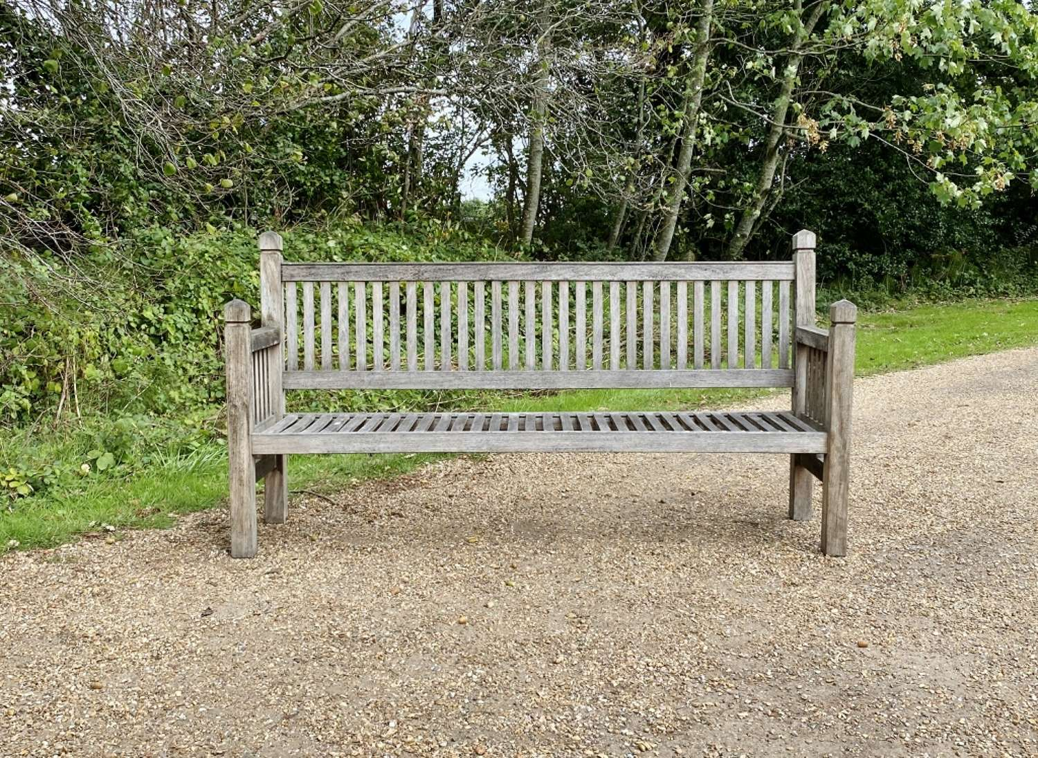 Large Slatted Bench with Finials