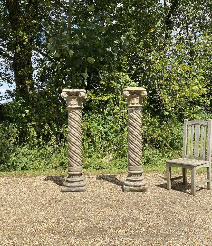 Pair of Large Corinthian Columns
