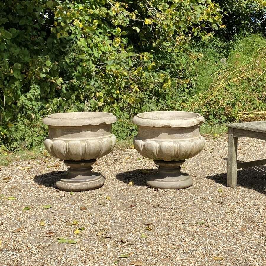 Pair of Antique Terracotta Planters