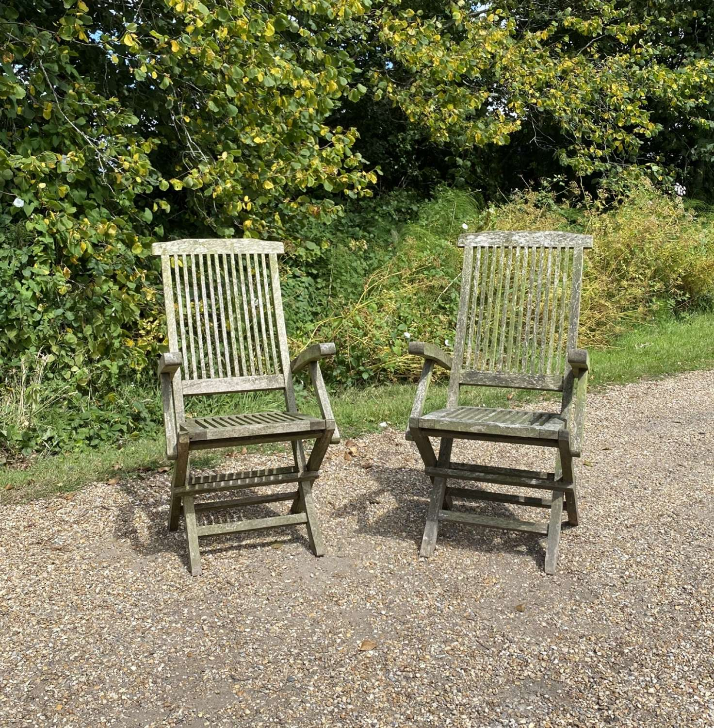 Pair of Patinated Folding Chairs