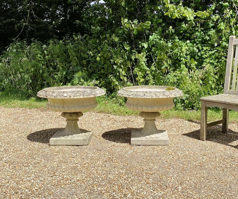 Pair of Sandford Stone Urns