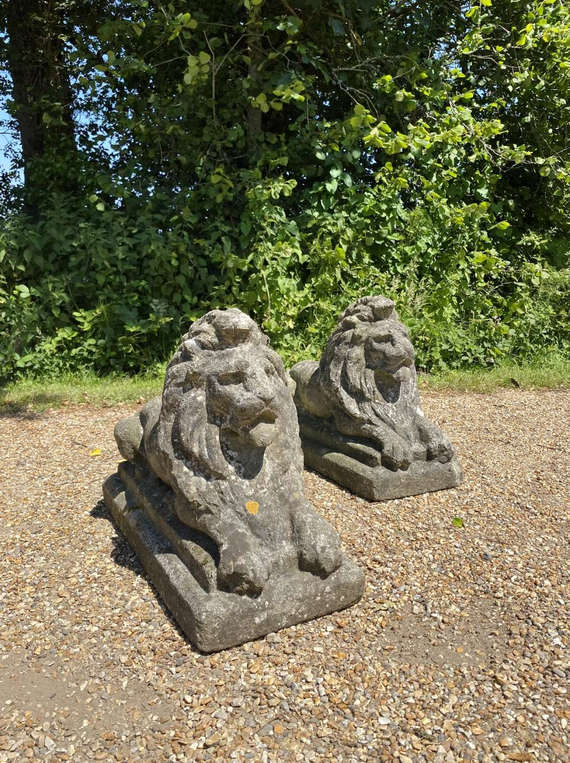 Pair of Mid-Century Patinated Lions