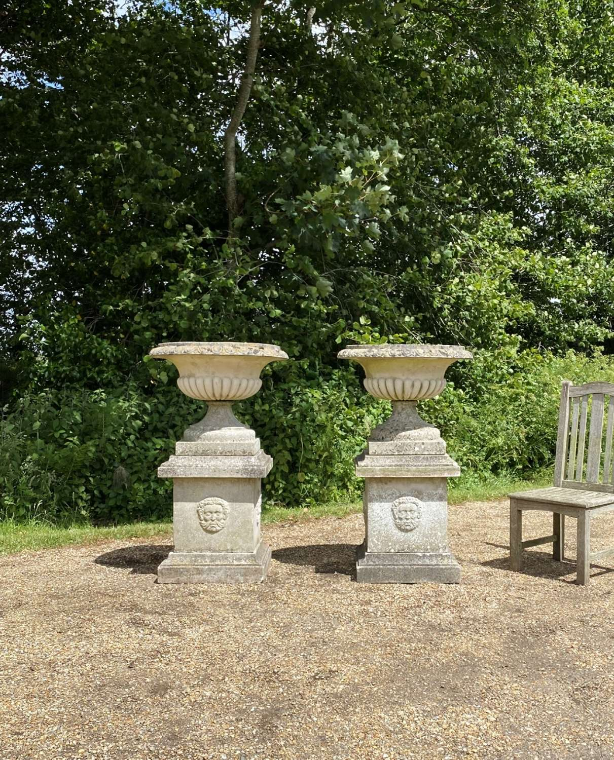 Pair of Large Mid-Century Urns with Pedestals