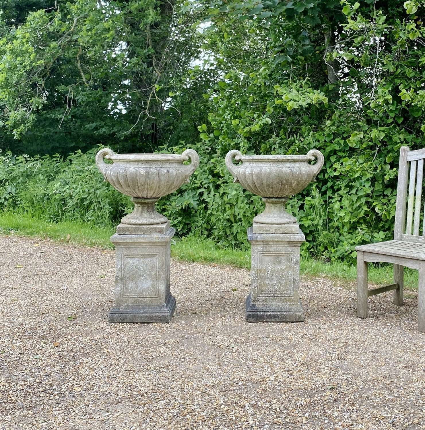 Pair of Handled Urn with Pedestals