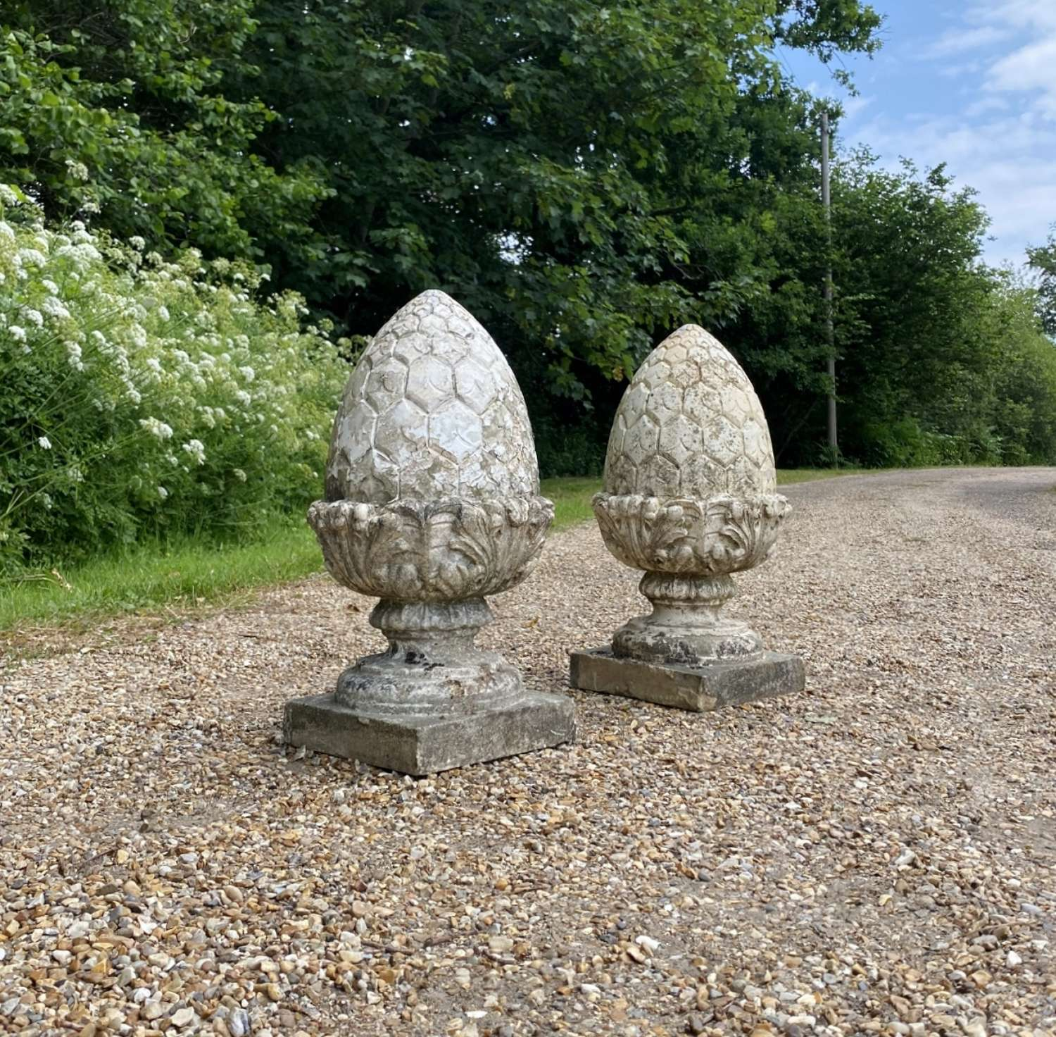 Pair of Painted Pineapple Finials