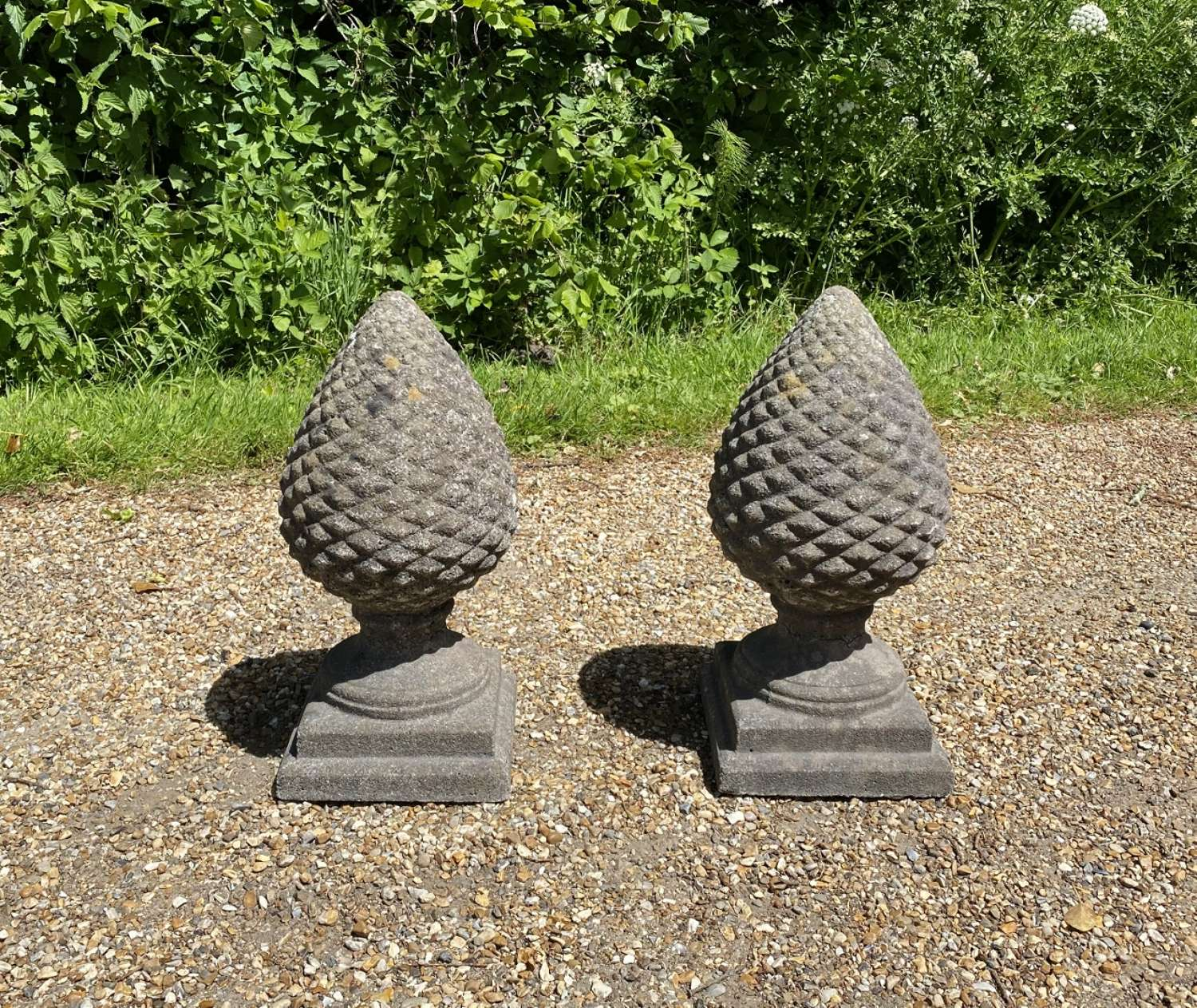 Pair of Patinated Pine Cone Finials