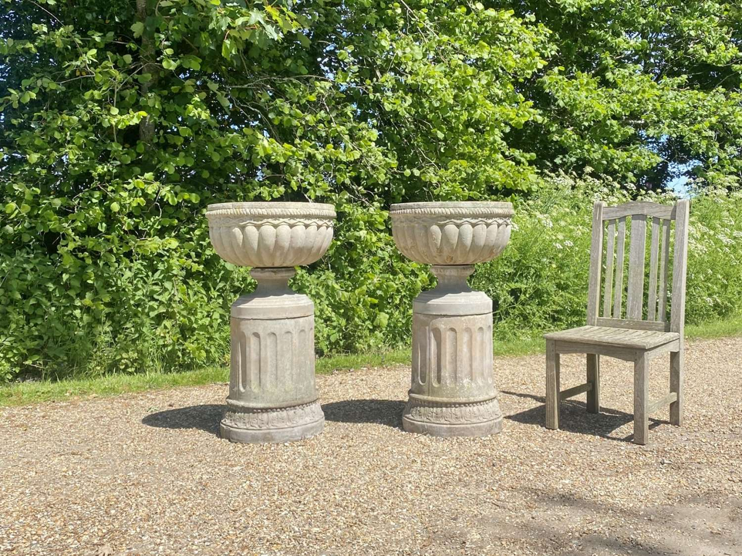 Pair of Bowl Urns with Pedestals
