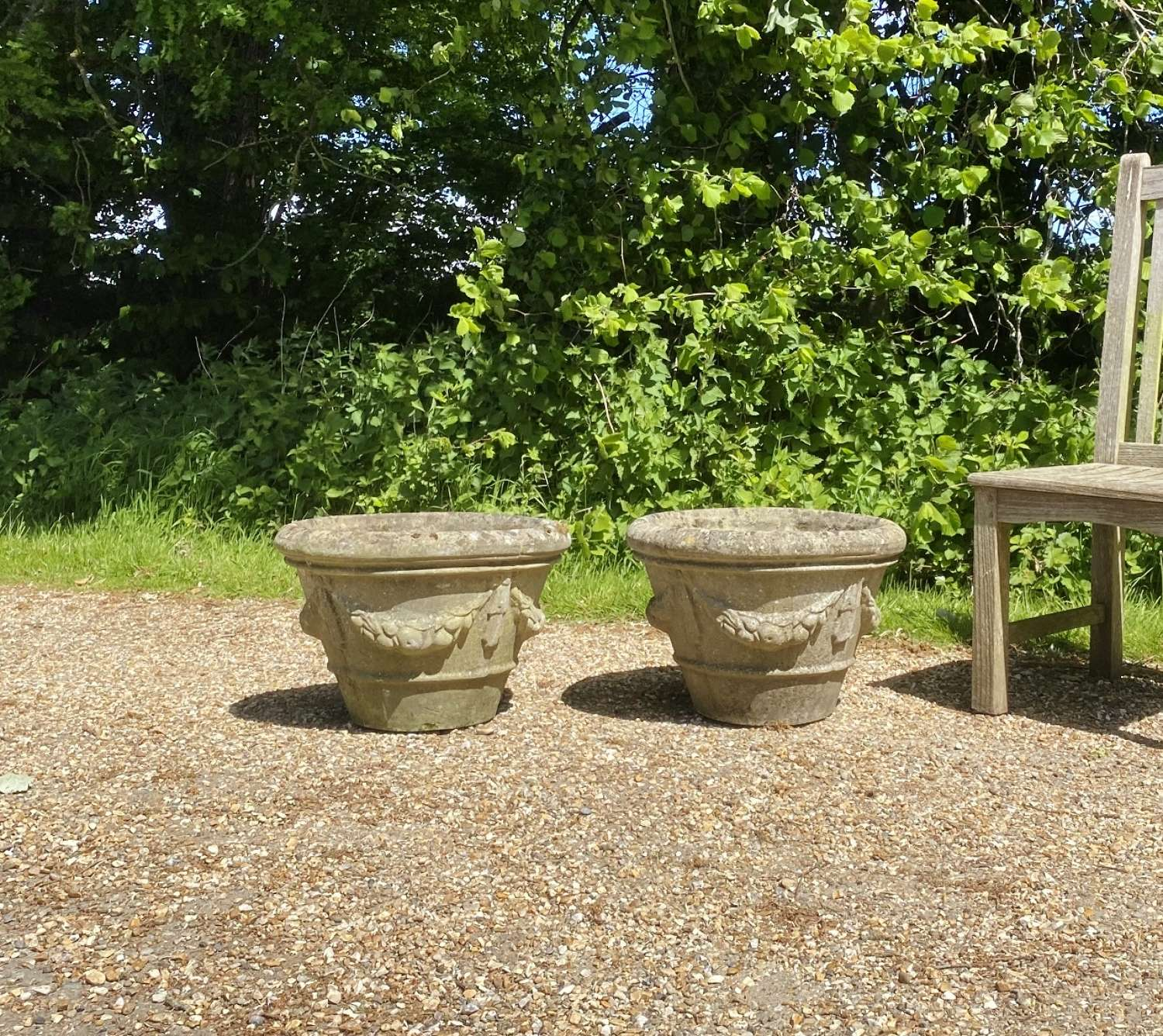 Pair of Patinated Garland Planters