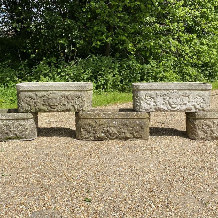 Patinated Lion Troughs