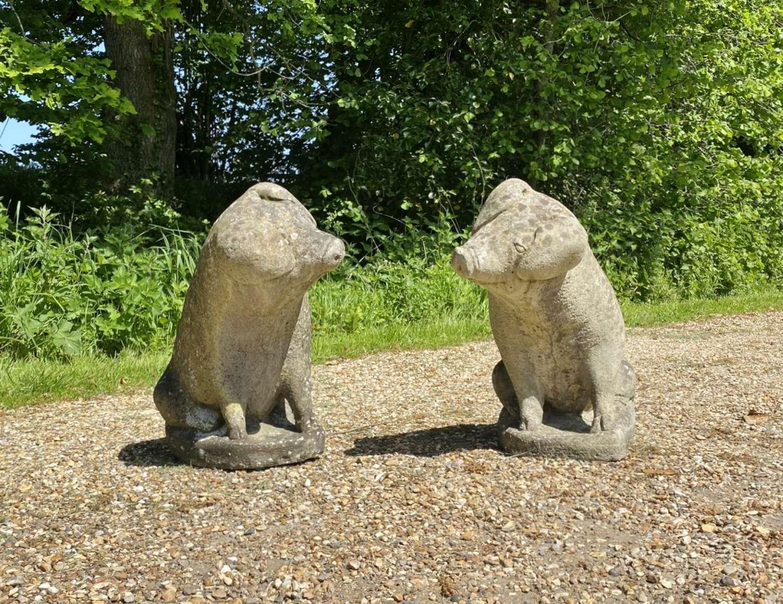 Pair of Stone Pigs
