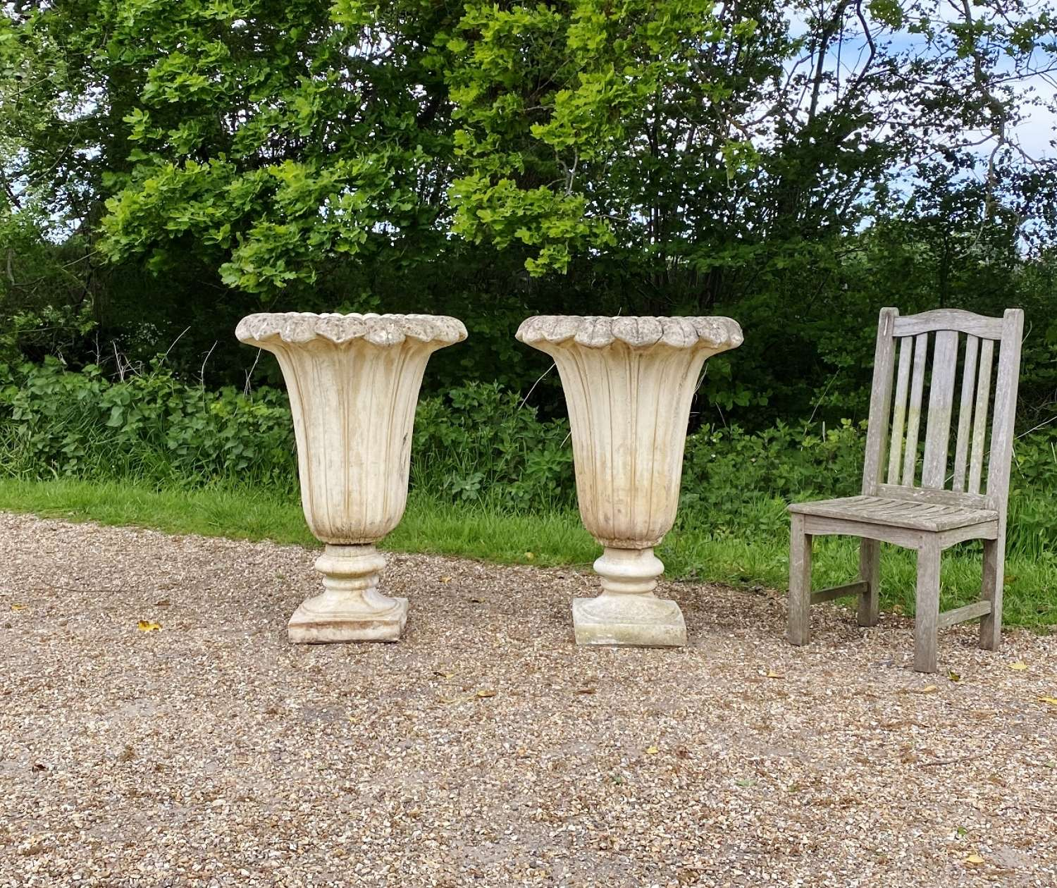 Pair of Large Fluted Vases