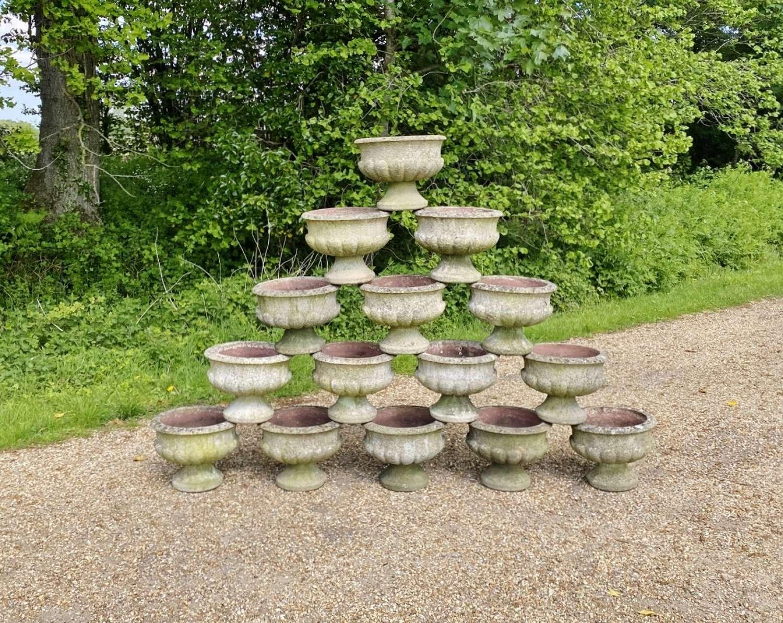 Patinated Garden Urns