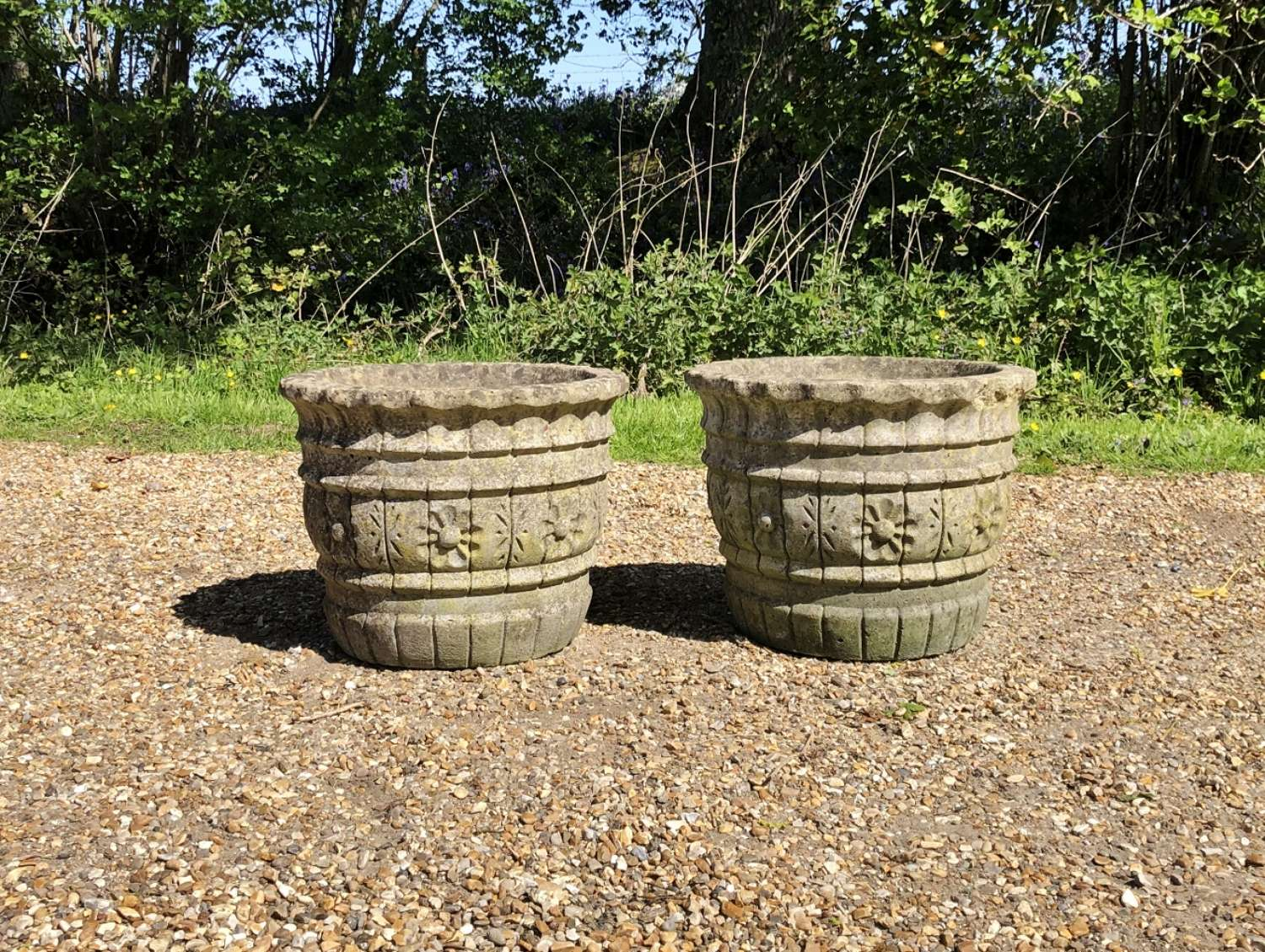 Pair of Small Patinated Flower Planters