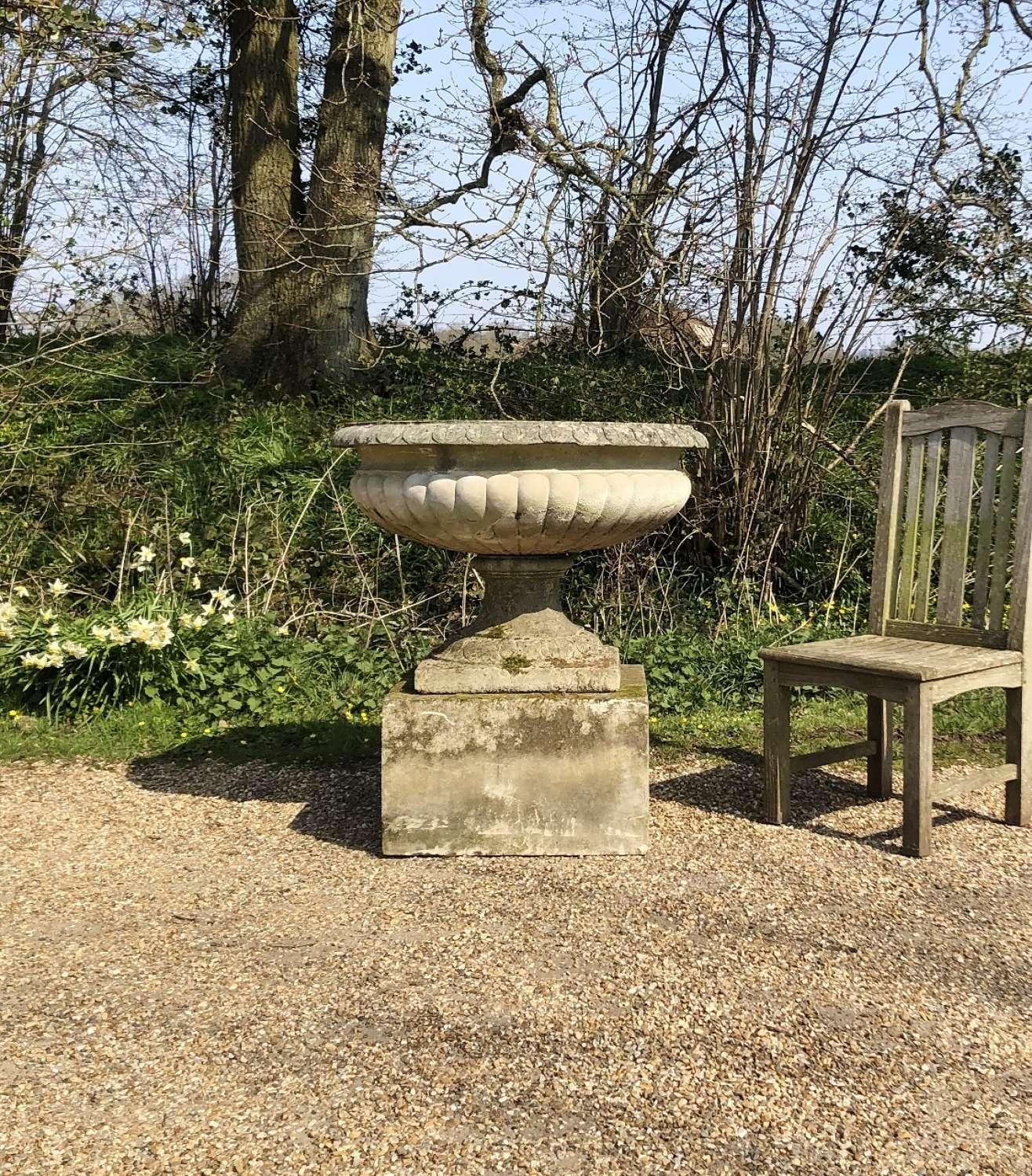 Very Large Tazza Urn and Plinth