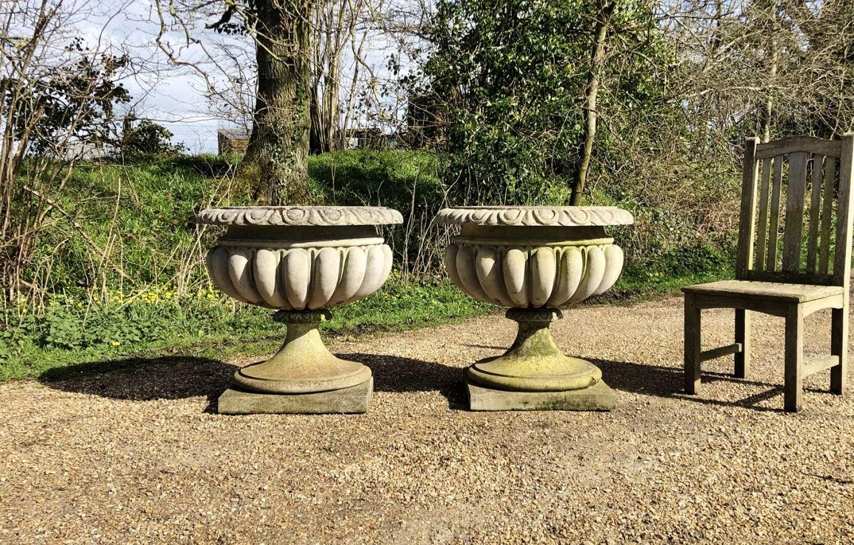 Pair of Large Garden Urns