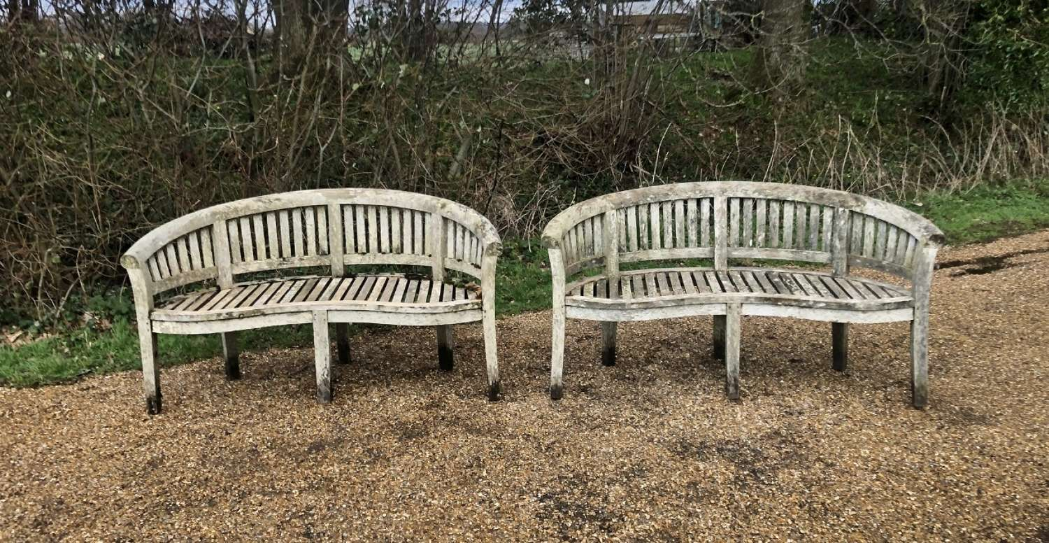 Pair of Patinated Curved Benches