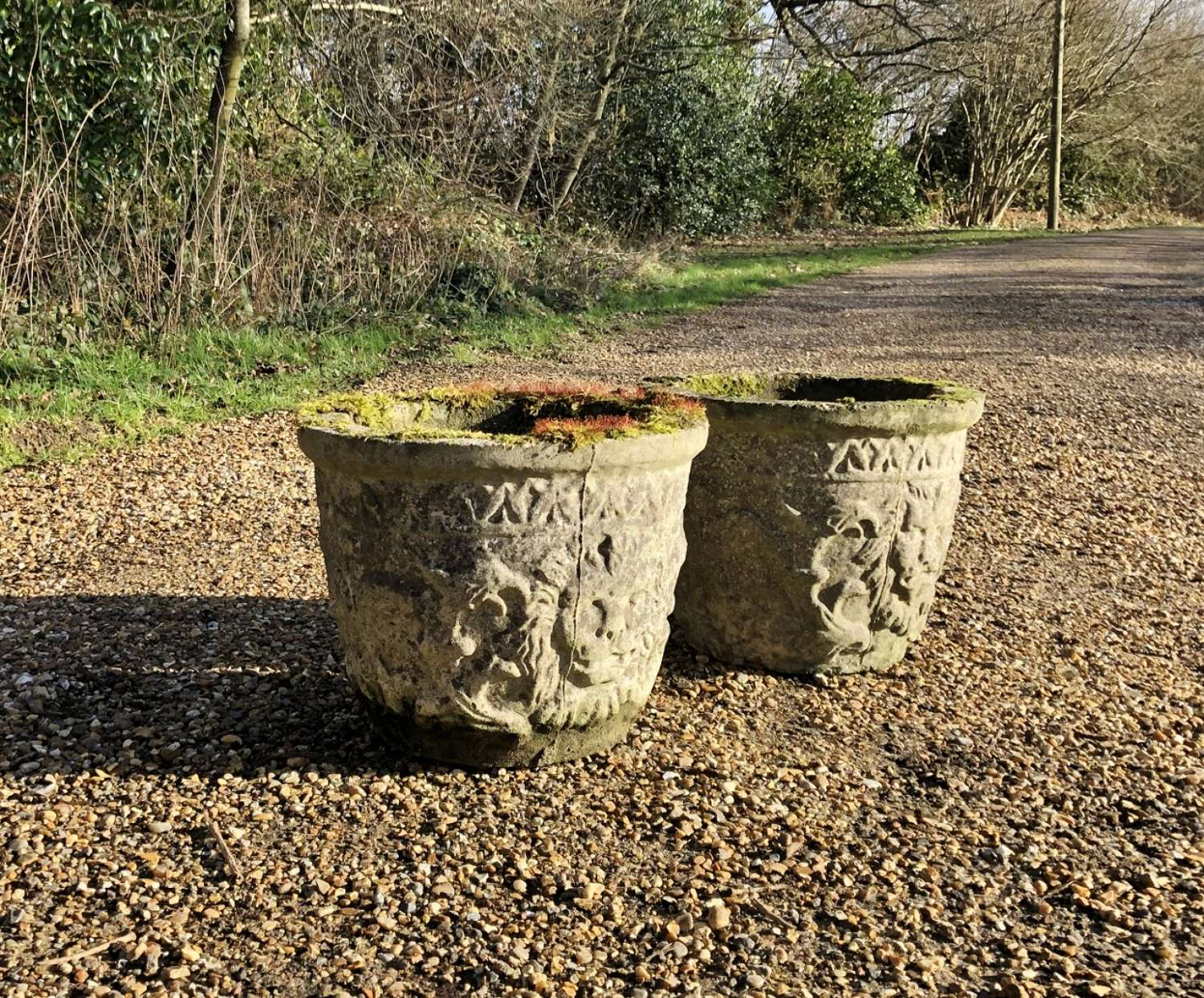 Pair of Mossy Lion Planters