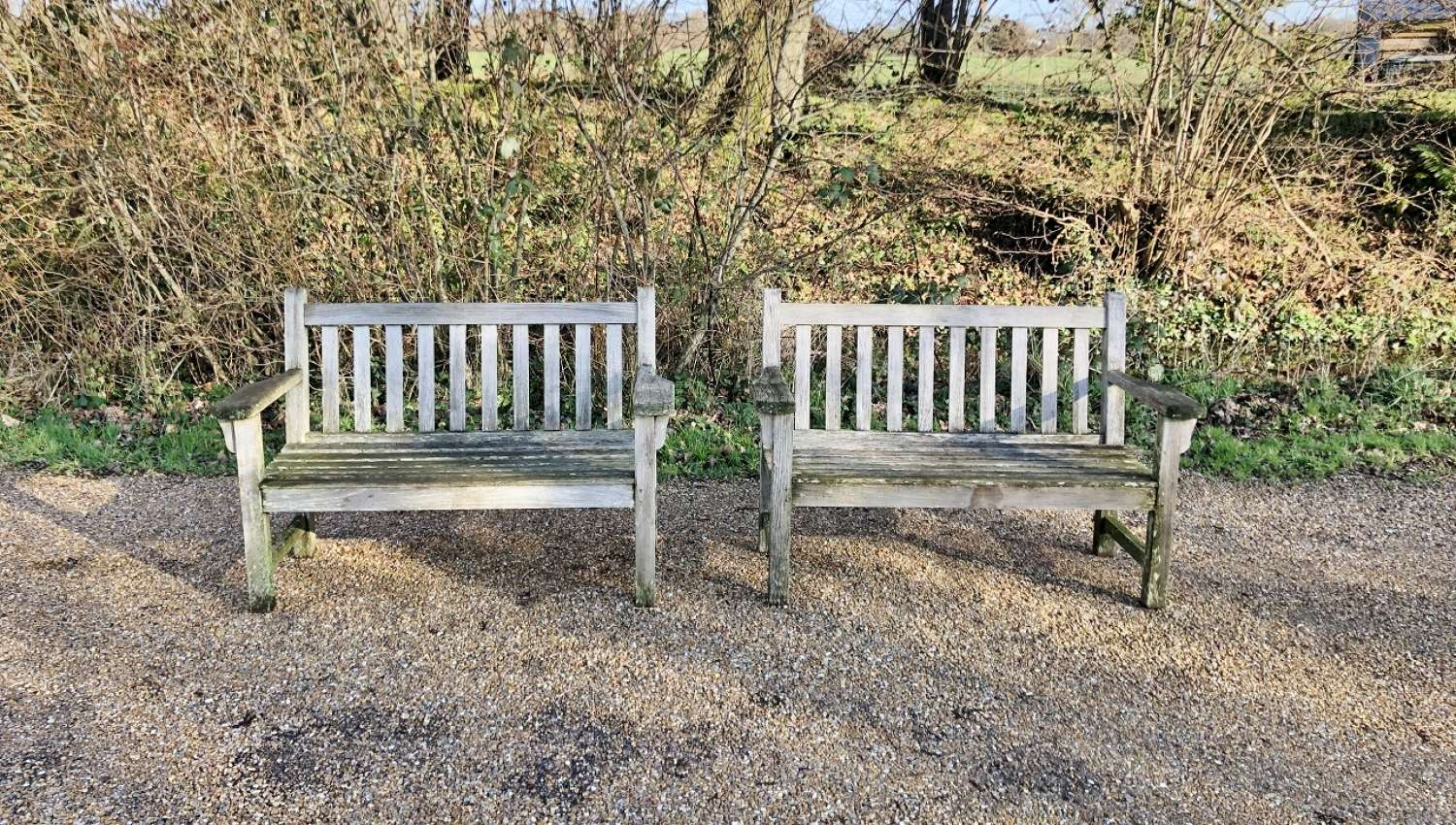 Pair of Small Weathered Benches