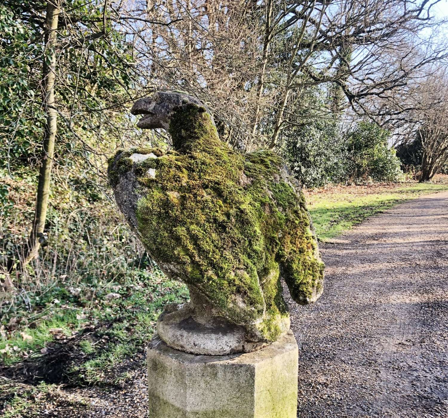 Large Mossy Eagle on Pedestal