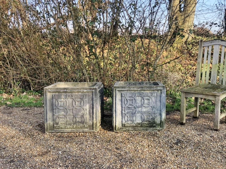 Pair of Ornate Square Planters