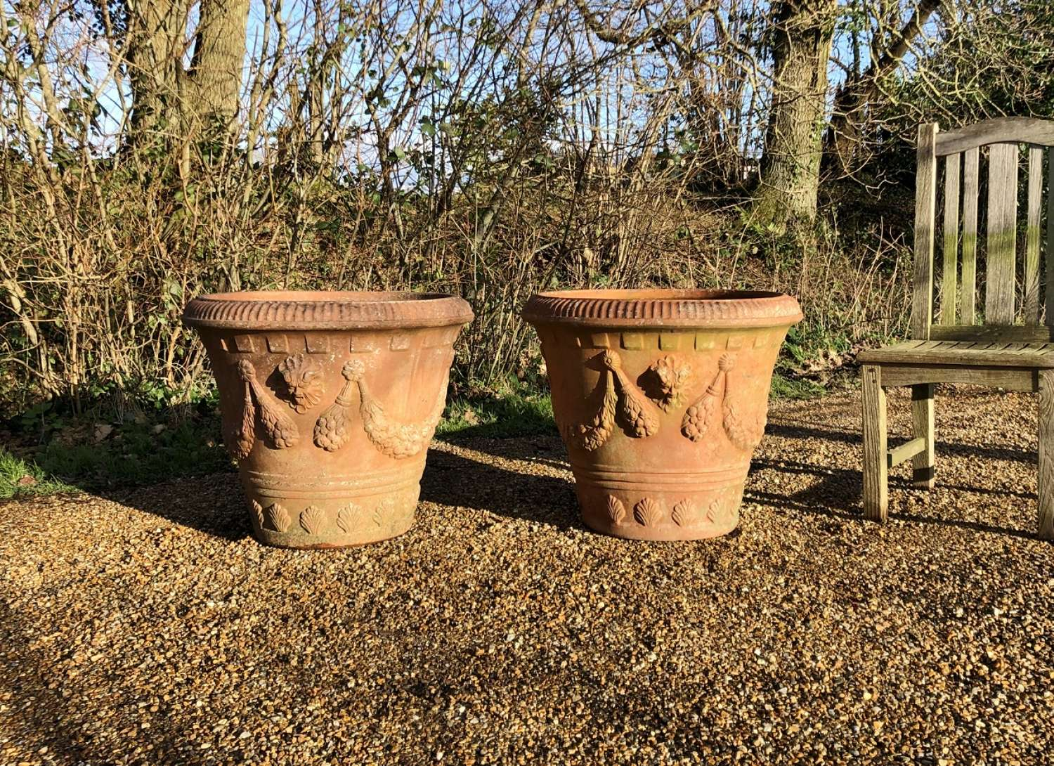 Pair of Large Decorative Terracotta Planters