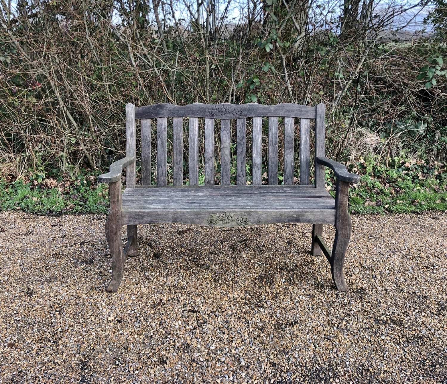 Bench with Decorative Carvings